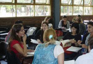 Students in a group activity in a Biology class at UAB