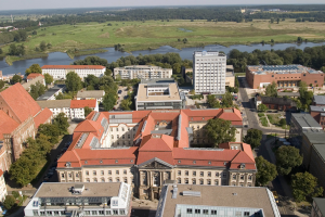 European University Viadrina with river Oder (border to Poland) in the background